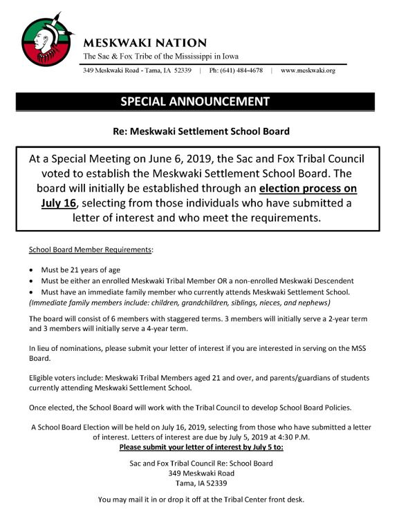 School Board Elections – Meskwaki Settlement School